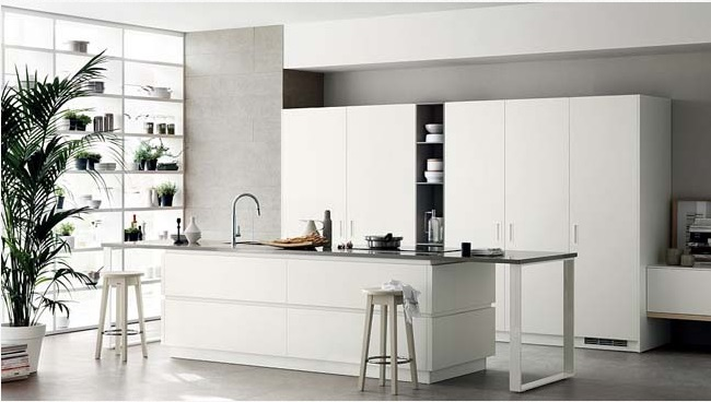 Tủ bếp hiện đại kết hợp bàn đảo bếp sang trọng