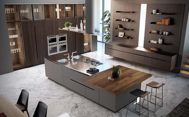 Tủ bếp được thiết kế theo kiến trúc châu âu