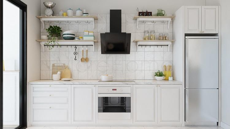 Gam màu trắng giúp căn bếp nhà bạn trở nên hiện đại nhưng vẫn không kém phần sang trọng