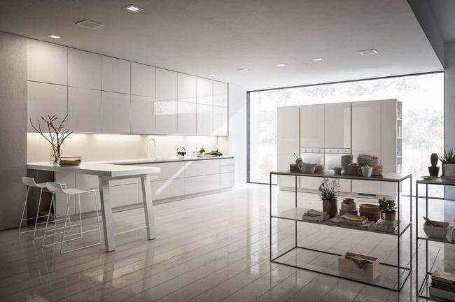 Không gian nhà bếp đẹp được thiết mở với bức tường bằng kính