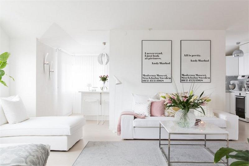Mẫu phòng khách đẹp với gam màu trắng