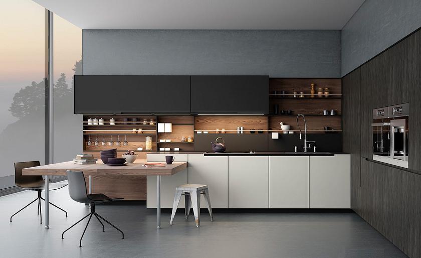 Tủ bếp màu xám kết hợp màu vân gỗ
