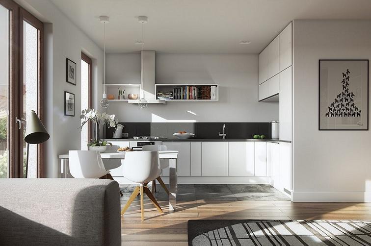 Tủ bếp vừa tiện nghi vừa kết hợp trang trí đựng sách