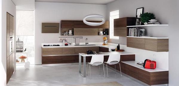 Phòng ăn kết hợp bếp đầy ấn tượng với tông màu sang trọng
