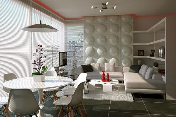 Sự kết hợp giữa phòng khách và Bàn ghế ăn là 1 ý tưởng sáng tạo của các nhà thiết kế