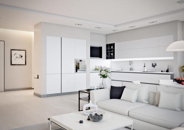 Ấn tượng với mẫu nội thất phòng khách liền kề với nhà bếp đẹp
