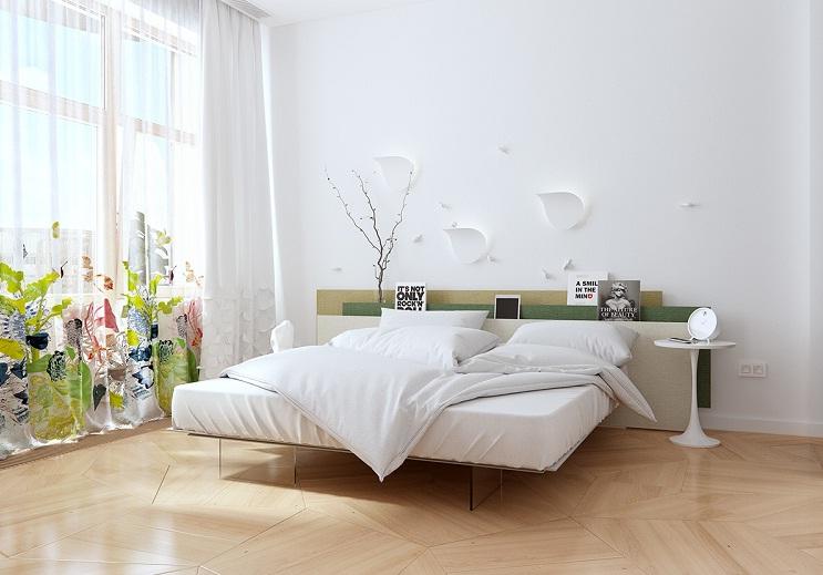 Mẫu giường ngủ mang phong cách tươi sáng,kết hợp họ tiết đẹp mắt của chiếc rèm cửa