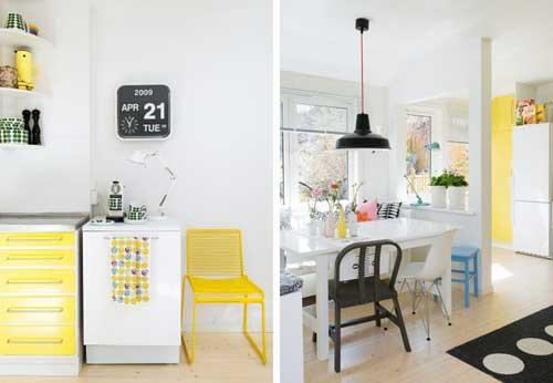 màu vàng chanh có thể kết hợp được rất nhiều đồ nội thất trong nhà