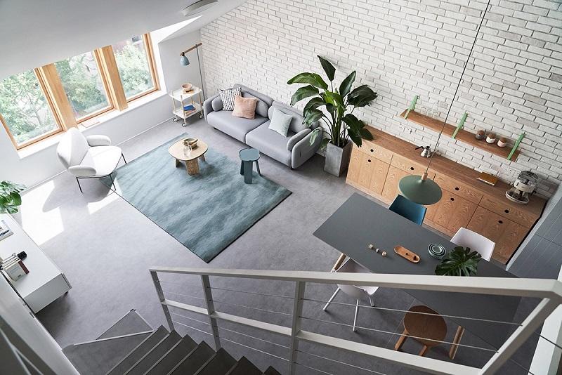 Thiết kế nội thất phòng khách đặt liền kề phòng ăn ấn tượng trong các căn hộ chung cư