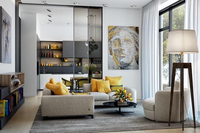 Thiết kế phòng khách ấn tượng với tông màu vàng sang trọng