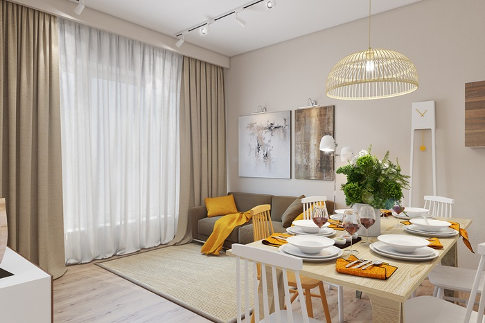 Màu vàng cho không gian phòng khách bừng sáng