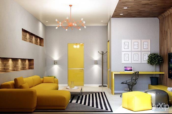 Phòng khách  màu vàng sẽ tạo nên nét tinh tế rất riêng cho căn hộ.