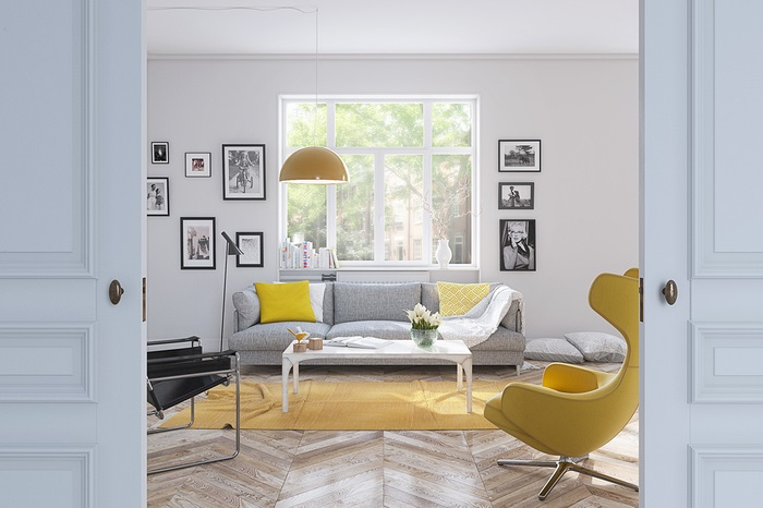 Phòng khách này là sự hòa trộn tất cả các gam màu trẻ trung và lôi cuốn