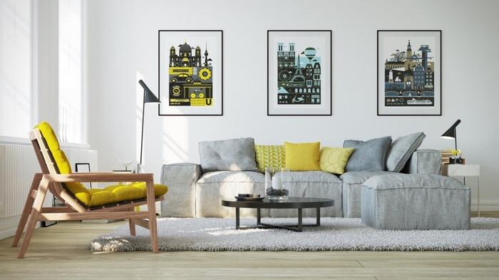 Ghế sofa màu xám-vàng là cặp đôi ăn ý được thiết kế nhiều trong nội thất hiện đại