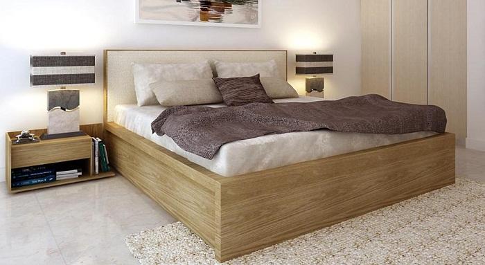 Giường ngủ gỗ 118 được thiết kế đầu giường bọc nêm,chân thấp