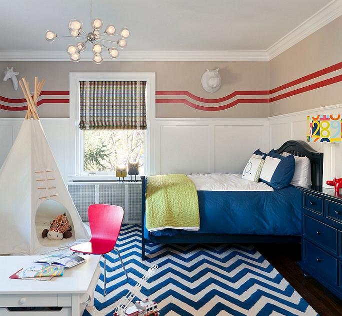 Phòng ngủ năng động cho bé trai cùng họa tiết chevron