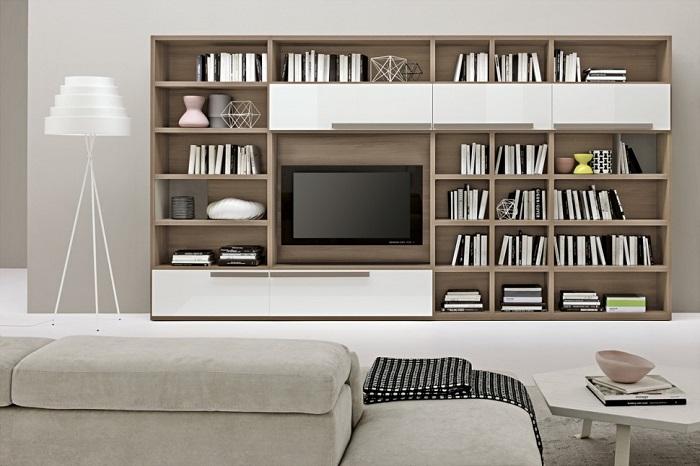 Kệ sách kết hợp với kệ tivi tạo nên nét độc đáo cho ngôi nhà bạn