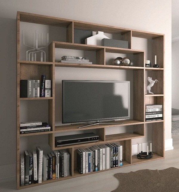 Mẫu kệ tivi kết hợp kệ sách đặt trong phòng ngủ sang chảnh