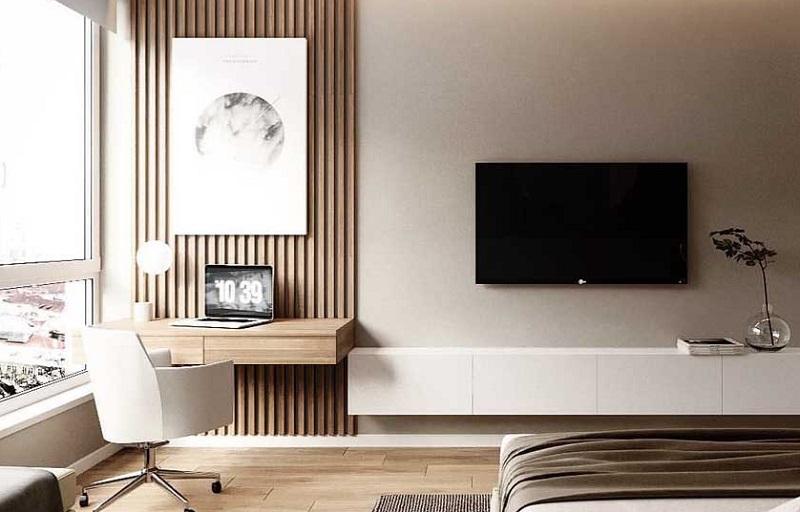 100 mẫu kệ tivi kết hợp bàn làm việc hiện đại trong phòng ngủ