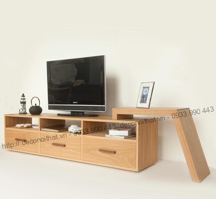 Kệ tivi 147 màu vân gỗ sồi phù hợp với hầu hết không gian phòng khách