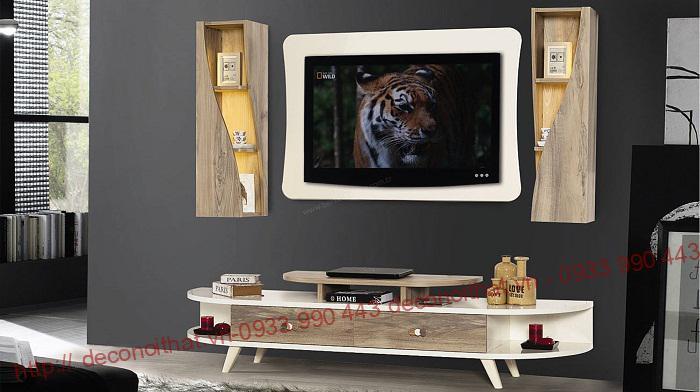kệ tivi 046 kết hợp với 2 bên tủ treo màu vân gỗ đẹp đang trở thành sản phẩm ăn khách nhất trên thị trường hiện nay