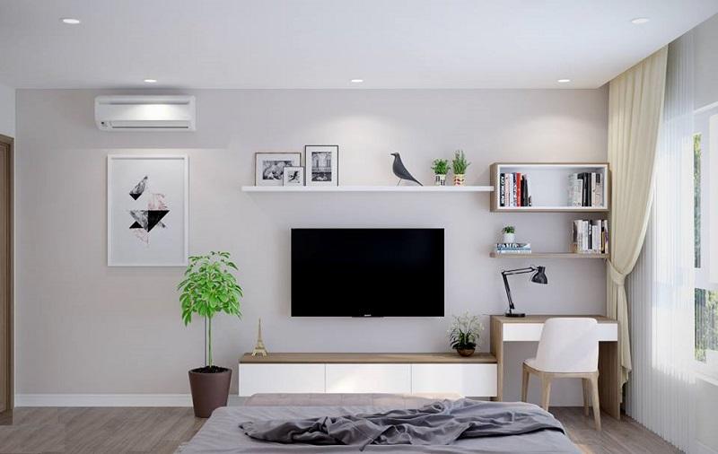 Kệ tivi kết hợp bàn làm việc sang chảnh đặt trong phòng ngủ