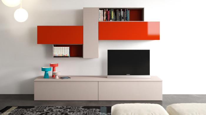 Phòng khách đơn giản với chiếc kệ sách sử dụng tông màu sáng tạo điểm nhấn cho phòng khách