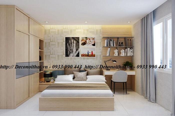 Phòng ngủ đẹp được thiết kế bởi dòng vật liệu gỗ công nghiệp với màu sắc đa dạng