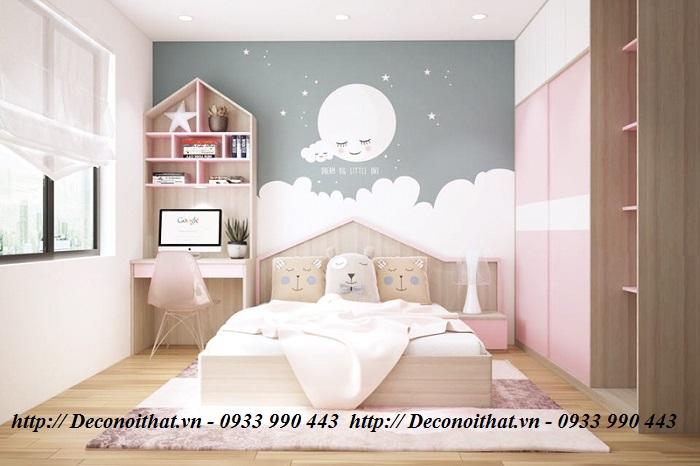Thiết kế nội thất phòng ngủ màu hồng đẹp – đơn giản – tinh tế cho các bé yêu