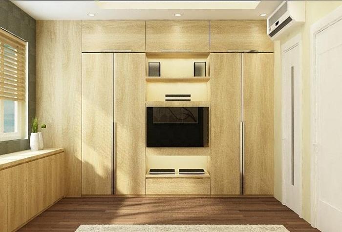 mẫu tủ áo 2 được thiết kế âm tường kết hợp kệ tivi