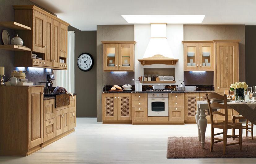 Tủ bếp gỗ sồi được thiết kế trong không gian nhà bếp