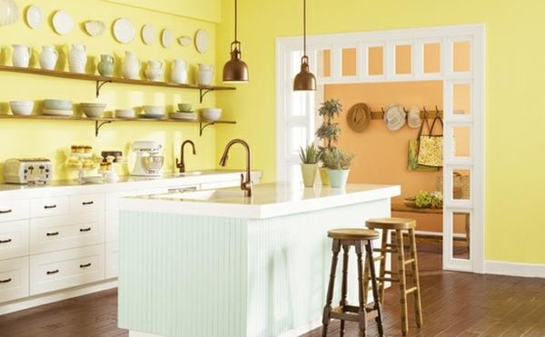Không gian bếp vô cùng đáng yêu với màu Melamine hiện đại