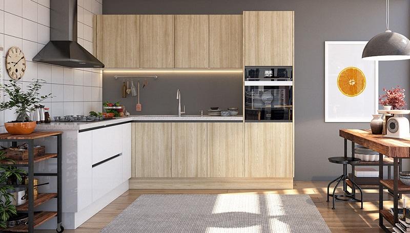 Tủ bếp chữ L tận dụng mọi góc cạnh giúp cho gia chủ tận dụng được hết công năng sử dụng