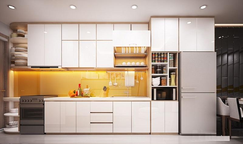 Tủ bếp i được thiết kế cao đụng trần làm tăng thêm diện tích cho người sử dụng