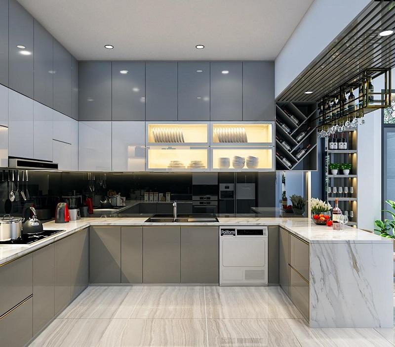 Thi công Tủ kệ bếp cao đụng trần trong các căn hộ, chung cư cao cấp
