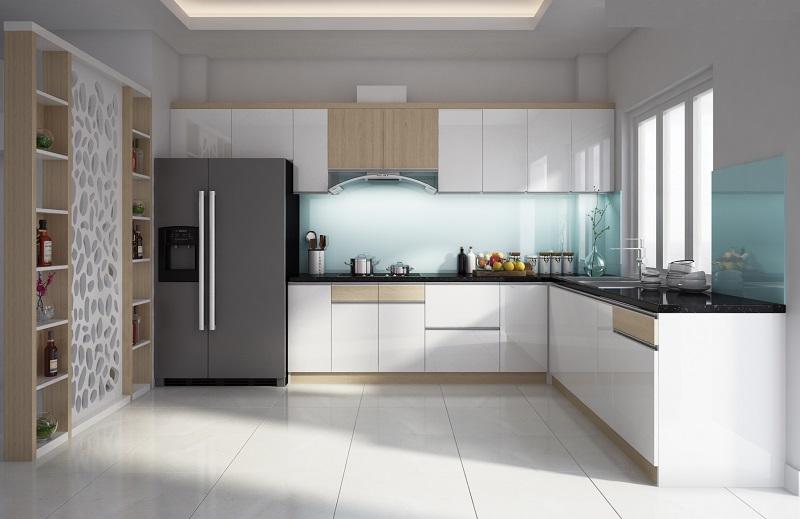 Mẫu thiết kế tủ bếp Melamine kết hợp cánh Acrylic bóng gương đẹp