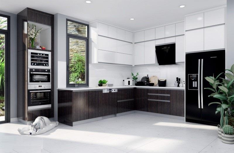 Mẫu thiết kế tủ bếp hiện đại 2020 ngày nay thường được thiết kế kèm theo các phụ kiện inox