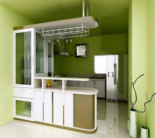 phòng bếp nhỏ phối hợp màu sắc tươi sáng khiến bạn thích thú