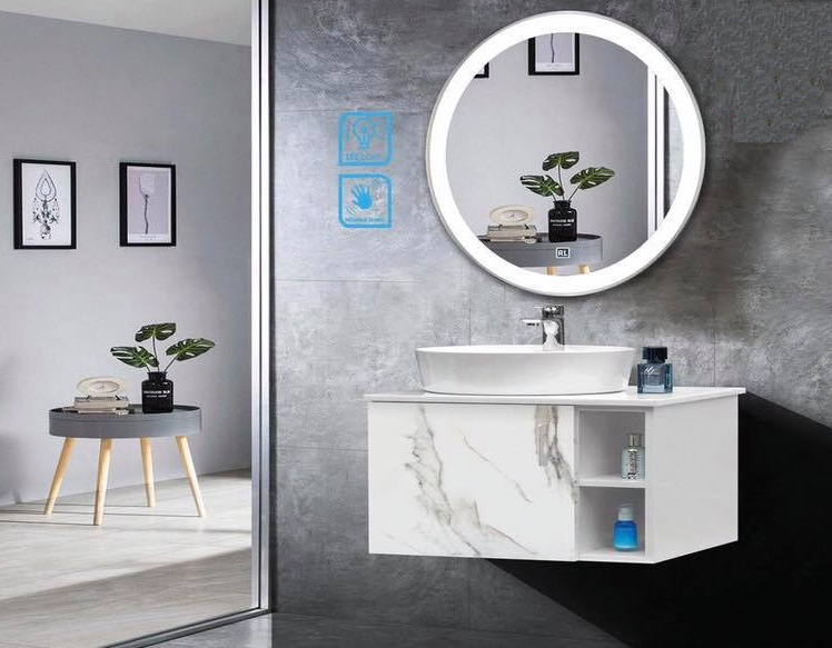 Thiết kế tủ lavabo với với kiểu gương tròn độc đáo