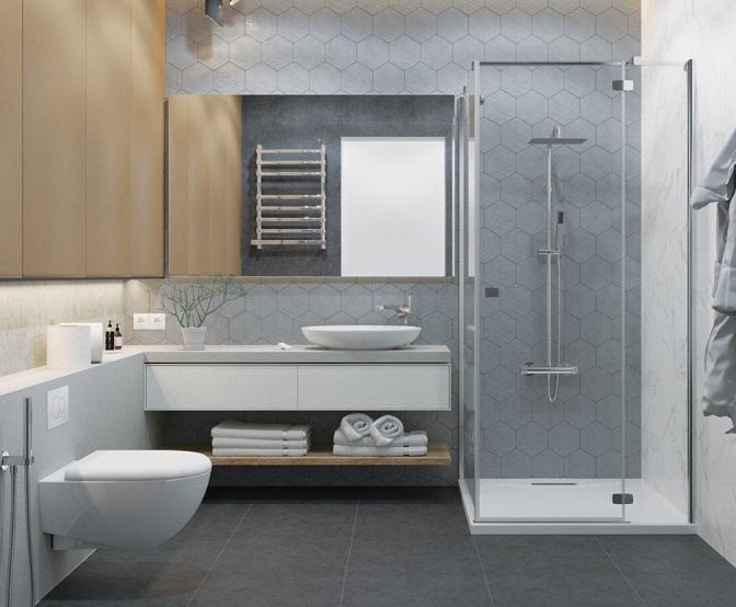 Mẫu phòng tắm đẹp hiện đại được trang trí đơn giản với trắng sáng kết hợp với kệ gỗ mộc mạc tạo nên sự tương phản và cảm giác ấm áp.