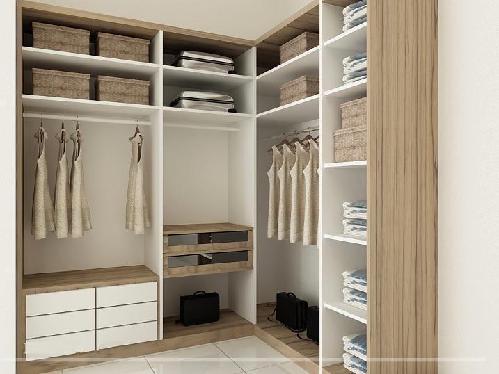 Mẫu tủ quần áo âm tường 5 được thiết kế 2 chiều chữ L không có phần cánh cửa