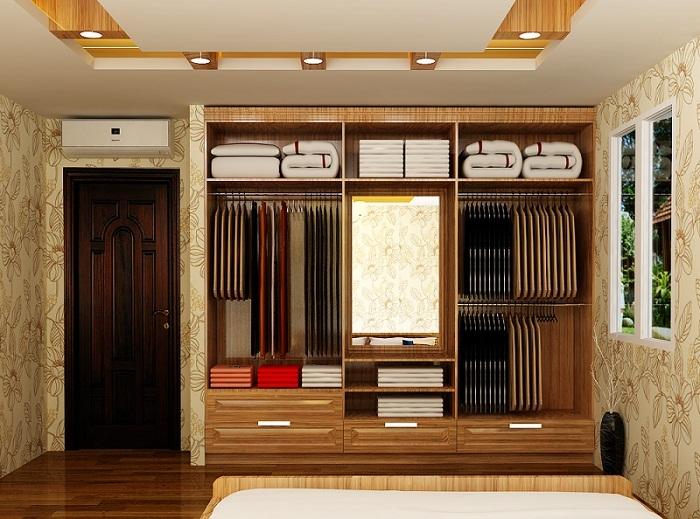 Mẫu tủ quần áo âm tường 4 được thiết kế không có phần cánh cửa