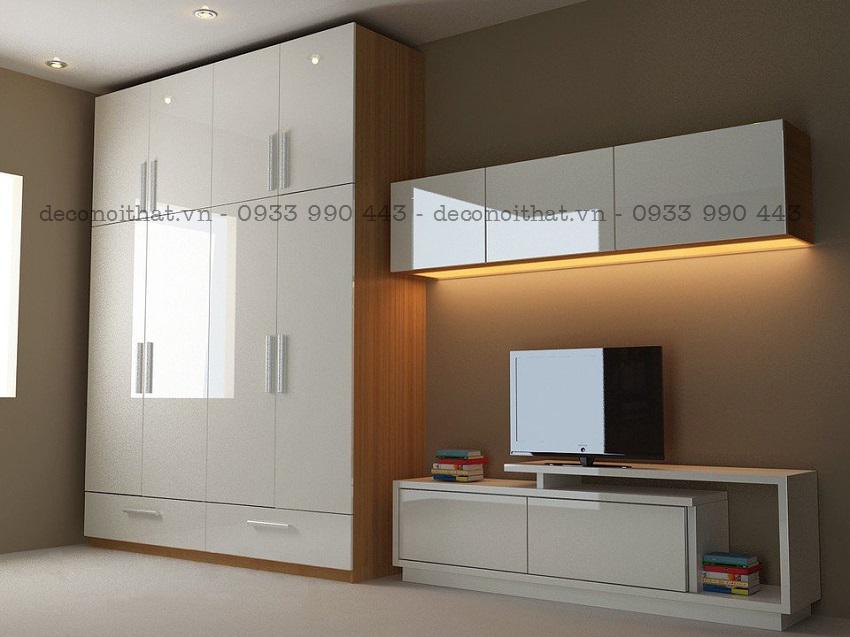 tủ quần áo kết hợp với bộ kệ tivi gỗ công nghiệp phủ acrylic bóng gương sẽ mang lại sự hiện đại cho không gian phòng ngủ của bạn