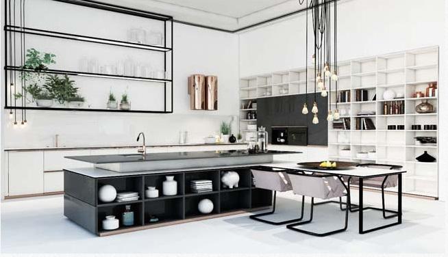 Tủ bếp được thiết kế theo kiểu đương đại