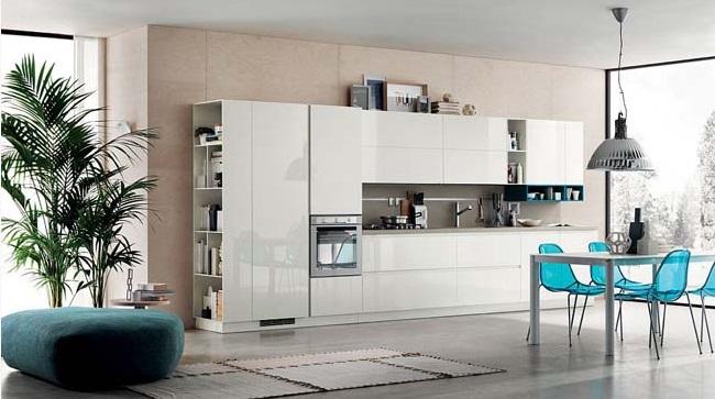 Mẫu tủ bếp Acrylic màu trắng tinh khôi