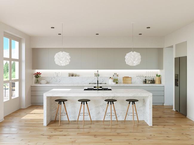 Trắng -xám là 2 tông màu được thiết kế trong nhà bếp hiện đại
