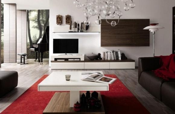 Kệ ti phòng khách được thiết kế 2 tông màu trắng- vân gỗ
