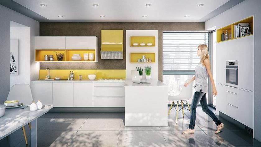 Tủ bếp được thiết kế với tông màu trắng chủ đạo