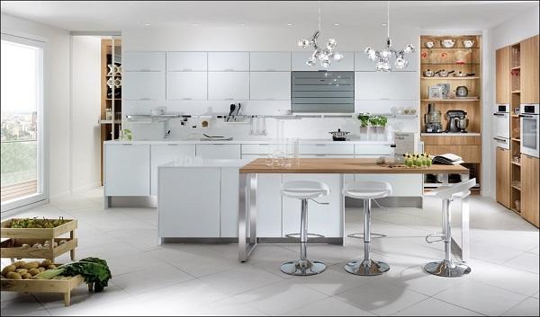 Tủ bếp kết hợp đèn trang trí hiện đại