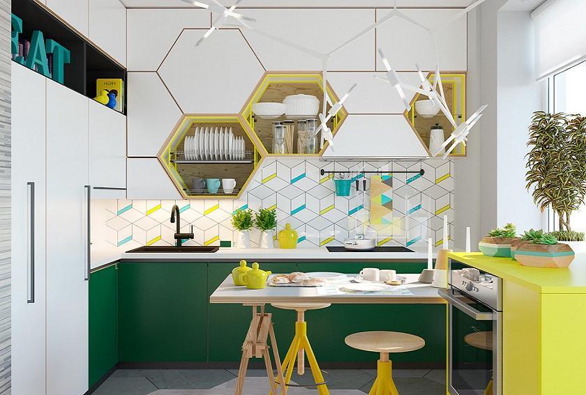 Tủ bếp ngoài nấu ăn chúng ta có thể làm kệ trang trí đẹp mắt